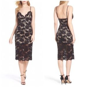 Bardot Black Midi Lace Slip Dress 8 M